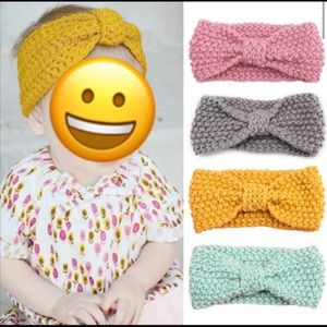 Other - Grey Knitted baby girl headband